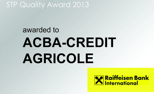 ACBA- CREDIT AGRICOLE BANK awarded quality certificate by Raiffeisen Bank International
