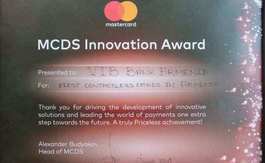 "VTB Bank (Armenia) becomes winner in category ""the First Proximity Cards in Armenia"" at ""Innovation Awards"" forum"