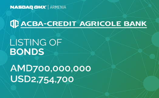 ACBA-CREDIT AGRICOLE BANK listed its bonds on NASDAQ OMX Armenia