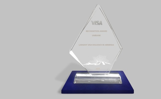 "Visa international names Unibank winner in category ""Largest Visa Issuance in Armenia"""